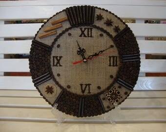 Часы кофейные , ручная работа , настенные. A coffee, wall clock, handmade.