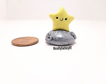 Star On Moon Polymer Clay Figurine