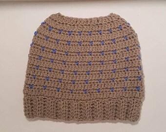 Ladies Bun Hat Grey & Blue