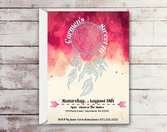 Dreamcatcher Sweet 16 Birthday Invitations