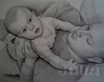 "Father's day, Custom pencil drawing, personalized Portrait from your photo, custom drawing, Pencil Drawing 11""x14"""