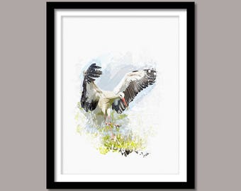 Stork Print, Stork Digital Print, Bird Printable Art, Stork Abstract Print, Bird Print Poster, Watercolor Art,Instant Download, Wall Decor
