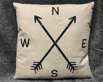 Arrow Compass Pillow - Available With or Without Pillow Insert