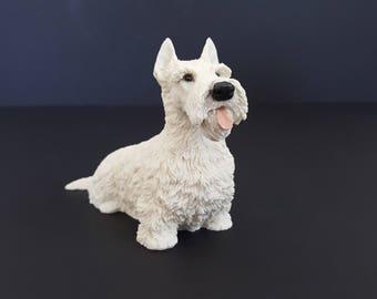 Vintage Small Scottie Dog Statue Italy Original by Castagna 1988 White Dog Figurine