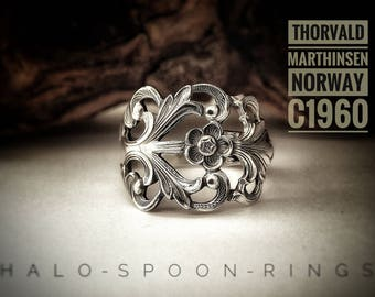 Very Pretty Ethereal Ladies Spoon Ring by Thorvald Marthinsen Norway in the 'Viking Rose pattern'  circa 1960 and hallmarked 830s.