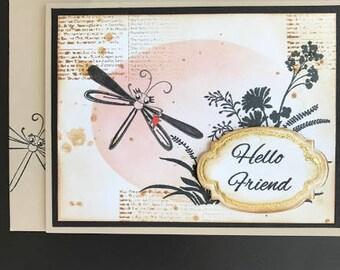 Hello Card, Hello Friend Card, Friend Card, Dragonfly Card, Newsprint card, Vintage Card, Greeting Card, Blank inside Card, Handmade Card,