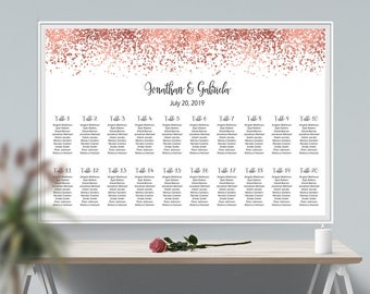 Glitter Wedding Seating Chart Rose Gold Glitter Seating Chart Printable Wedding Seating Plan, Rose Gold Seating Plan, Seating Chart Sign