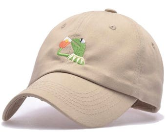 Kermit The Frog Sipping Cap Meme Hat