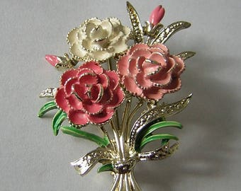 Signed Exquisite vintage 1960s collectible carnations birthday brooch