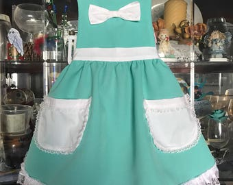 Tiffany blue & white bow apron for little girls