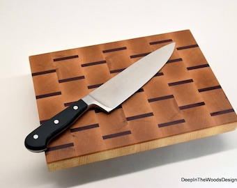 End Grain Cutting Board - Maple and Purple Heart End Grain Cutting Board - Decorative Cheese Board - Wedding Gift