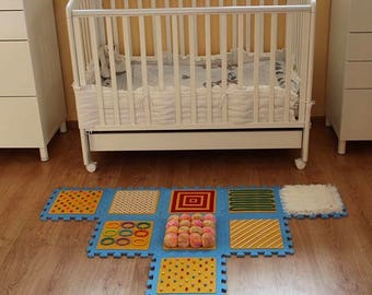 BLUE- YELLOW Massaging Sensory Mat For Toddler Feet/ Kids Sensory Rug (9 pcs)