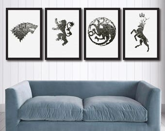 Game of Thrones Canvas Wall Art, Set of 4 coats of arms, GoT Wall Decor, Winter is Coming, Houses Baratheon Stark Lannister Targaryen print