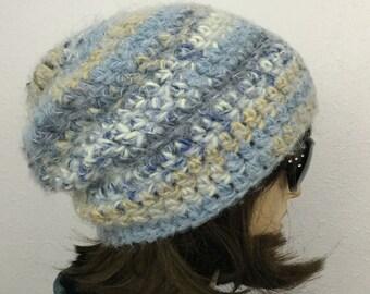 Women Crochet Hat Slouchy Hat Women Winter Slouchy Beanie in Light Blue and Gray Women Winter Accessories