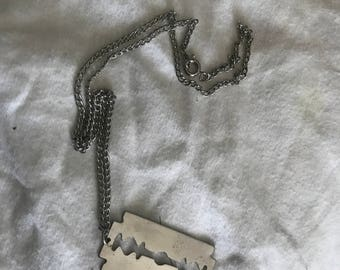 Vintage Stainless Steel Candlestick Cutout Stencil Necklace