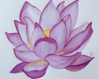 Lotus Flower/Buddhist Art/Flower/Watercolour piece/Gift/Home/Handpainted/A4