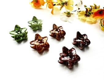 Mini Hair Jaw Claw Clip 6 Pieces Set Green Brown Star French Pin Celluloid Acetate Acrylic Plastic Trendy Bun Holder Maker Barrette