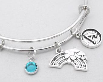 Rainbow vintage style initial charm bracelet | rainbow bangle | personalised rainbow bracelet | rainbow jewelry | rainbow gift | birthstone