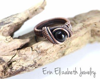 Custom Black Onyx Ring, Wire Wrapped Ring, Black Onyx Wire Wrap, Heady Ring, Heady Wire Wrap, Bohemian Ring, Festival Fashion, Gemstone Ring