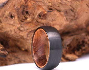 Zebra Wood Gun Dark Metal Grey Brushed Tungsten Band With Zebra Wood Brushed Black Zebra Wood Mens 8mm Mens Wedding Band Rings By Pristine