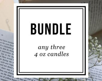Bundle ~ Three 4 oz Candles ~ Soy Candles for Bibliophiles