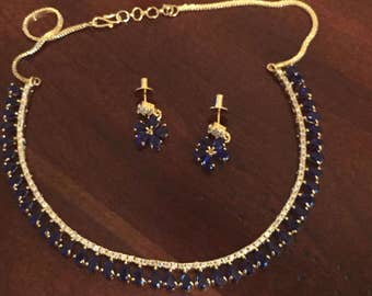 Blue Semi Precious Stone Tear drop Necklace & Earring Set