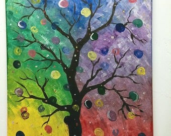 "Acrylic Painting ""Flashy Flora"" 16""x20"" colorful art paint on canvas tree unframed"