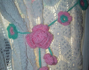 Crocheted flower curtain tie backs