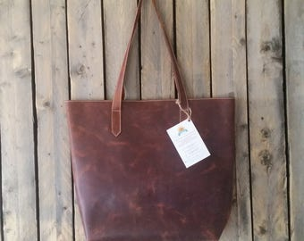 Large Brown Cognac Leather Tote.