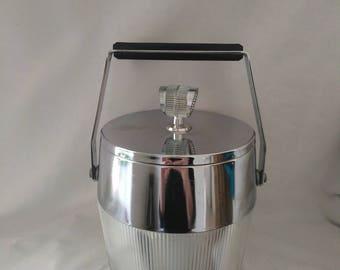 Vintage Art Deco Style Chrome Ice Bucket / Barrel 1960's