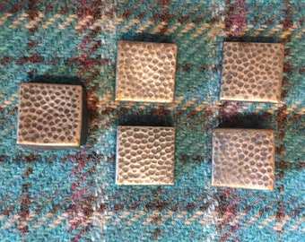 Vintage Square Metal embossed Buttons - 6 pcs