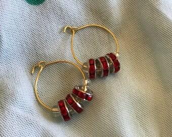 Red hoop ear rings