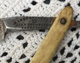 Antique Thistle Cutlery Straight Razor Manufactured by John Shaw & Sons Sheffield 1892