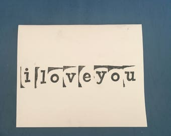 I Love You Stamped Stationary (Set of 3)--Handmade--I Love You--Greeting Cards