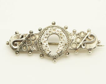 Antique 1895 Sterling Silver Lucky Horseshoe Sweetheart Pin Brooch