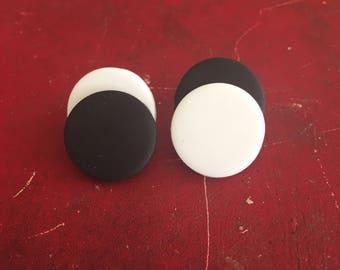 Yin Yang/Black snd White/Polymer Clay/Stud Earrings