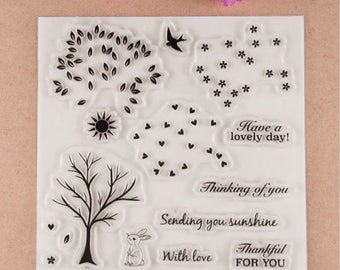Have a lovely day Transparent Clear Silicone Stamp/Seal for DIY scrapbooking/photo album Decorative clear stamp bunny, rabbit, bird, tree