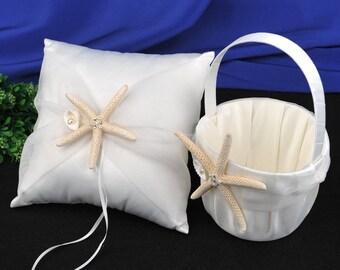 Set of 2 Ivory Starfish Seashell Ring Pillow and Flower Girl Basket Beach Theme Wedding Engagement Decoration Favor