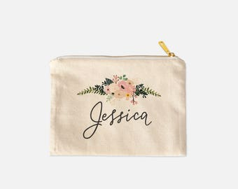 Personalized Makeup Bag, Handlettered with Florals, Bridesmaid Proposal, Maid Matron of Honor, Bride, Best Friend Gift, Canvas Cosmetic Bag