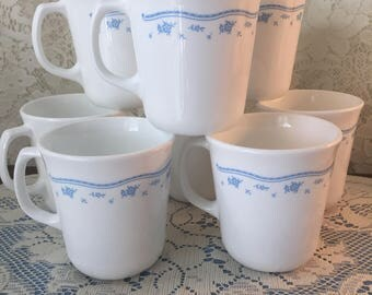"Corning ""Morning Blue"" 8oz Coffee Tea Mugs Cups - Set of 8"