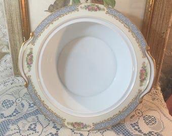 Vintage Noritake China Round Serving Dish - Chevonia Blue