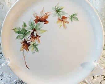 Vintage Salem Plates - Maple Leaf Pattern - White Brown and Green