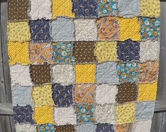 Rag Quilt in Camping / Outdoor Theme of Blues, Golds and Browns
