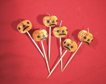 Vintage Halloween Honeycomb Paper Pumpkin Picks
