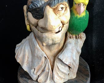 Pirate. Hand carved. Pirate caricature. With parrot. Ooak. Wood spirit. Fine art. Wood sculpture. Pirate bust. Wood carving.