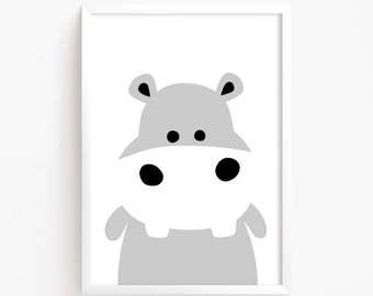 Sale 50% Off - Cute Hippo Black & White Poster Printable art Baby Girls animal illustration Kawaii Kids room print nursery instant download
