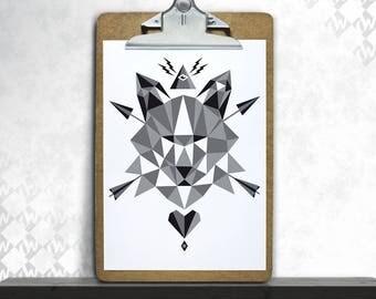 WOLV3D, art print, posters, fine art print, art print, polygon, Wolf, minimalism