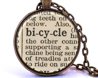 Bicycle Dictionary Pendant Necklace