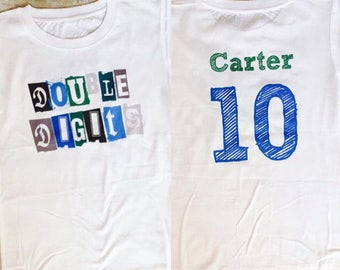 Boys Double Digits  Birthday Shirt with name and number on back