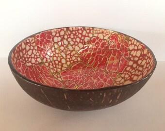 No. 6/18 Handmade Artisan Mosaic Hawaiian Coconut Shell Bowl with Artistic Hand-painted Inlay (Red/Gold)